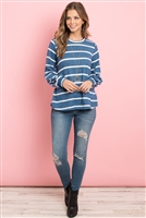 S4-3-2-PPT2052-TLWT - STRIPED LONG SLEEVED ROUND NECK SWING TOP- TEAL/WHITE 1-2-2-2