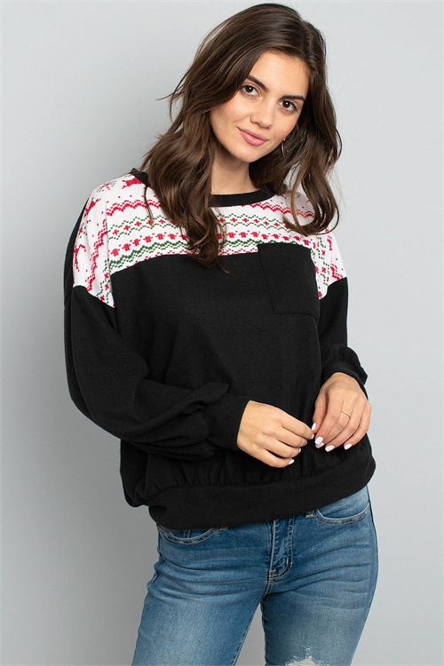 S11-17-4-PPT2053-BKWT - PUFF SLEEVED KNIT CONTRAST BRUSHED HACCI SWEATER- BLACK/WHITE 1-2-2-2