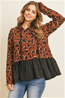 S10-9-4-PPT2054-BWBK - LEOPARD SOLID CINCH RUFFLE HEM HOODIE WITH SELF TIE- BROWN/BLACK 1-2-2-2