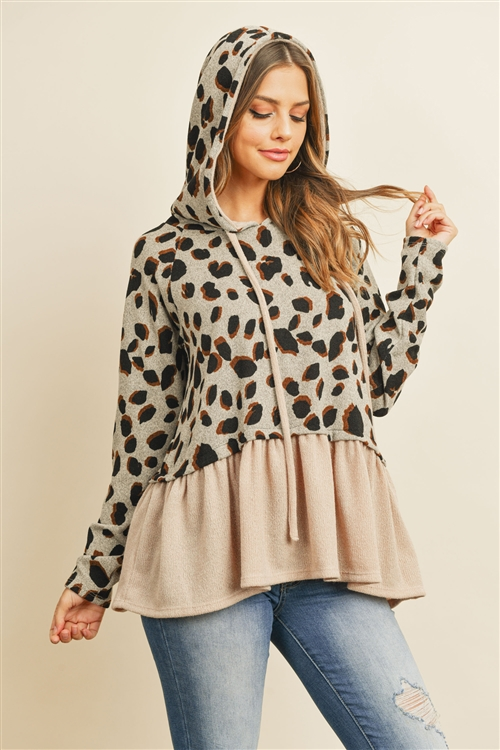 S10-9-4-PPT2054-GYTP - LEOPARD SOLID CINCH RUFFLE HEM HOODIE WITH SELF TIE- GREY TAUPE 1-2-2-2