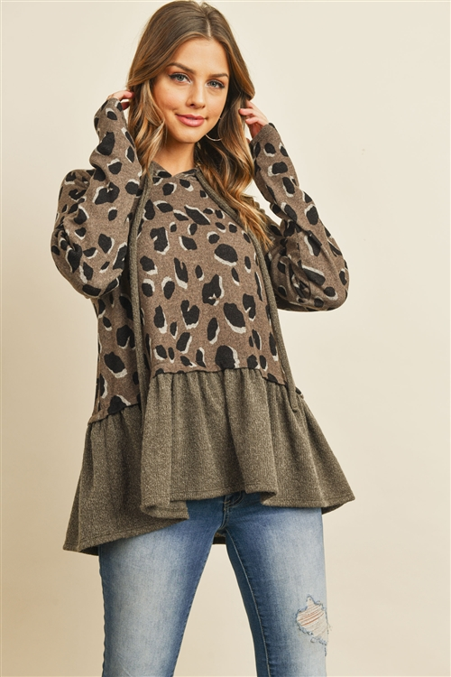 S10-9-4-PPT2054-KHKAG - LEOPARD SOLID CINCH RUFFLE HEM HOODIE WITH SELF TIE- KHAKI/ARMY GREEN 1-2-2-2