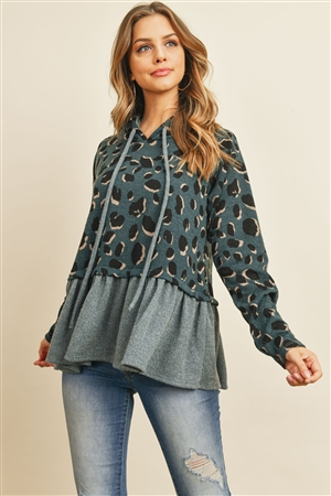 S10-9-4-PPT2054-TLIDG - LEOPARD SOLID CINCH RUFFLE HEM HOODIE WITH SELF TIE- TEAL/INDIGO 1-2-2-2