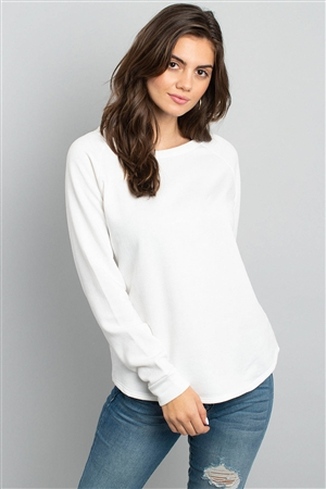 S10-6-3-PPT2055-IV - FLEECED FRENCH TERRY BRUSHED BACK ROUND NECK LONG SLEEVED TOP- IVORY 1-2-2-2