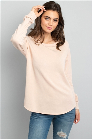 S10-6-3-PPT2055-TP - FLEECED FRENCH TERRY BRUSHED BACK ROUND NECK LONG SLEEVED TOP- TAUPE 1-2-2-2