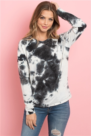 S5-1-2-PPT2058-BK - TIE DYE ROUND NECK LONG SLEEVED TOP- BLACK 1-2-2-2