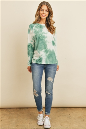 S5-1-2-PPT2058-EM - TIE DYE ROUND NECK LONG SLEEVED TOP- EMERALD 1-2-2-2