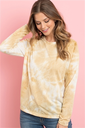 S5-1-2-PPT2058-MU - TIE DYE ROUND NECK LONG SLEEVED TOP- MUSTARD 1-2-2-2