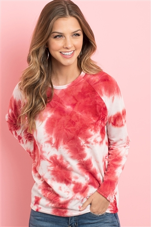 S5-1-2-PPT2058-TMTRD - TIE DYE ROUND NECK LONG SLEEVED TOP- TOMATO RED 1-2-2-2