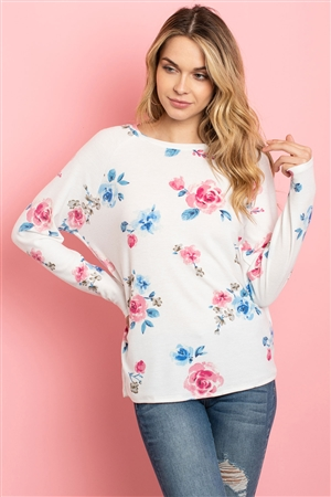 S11-16-4-PPT2059-IV - FLORAL LONG SLEEVED ROUND NECK TOP- IVORY 1-2-2-2