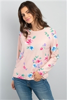 C78-A-2/S11-16-4-PPT2059-PK - FLORAL LONG SLEEVED ROUND NECK TOP- PINK 1-2-2-2