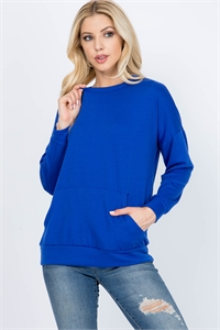 S11-5-1PPT2063-DKRYL - LONG SLEEVE FRENCH TERRY TOP WITH KANGAROO POCKET TOP- DARK ROYAL 1-2-2-2