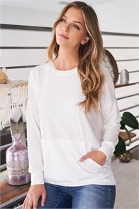 S8-9-4-PPT2063-IV - LONG SLEEVE FRENCH TERRY TOP WITH KANGAROO POCKET TOP- IVORY 1-2-2-2