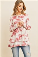 S5-1-1-PPT2064-WNIV - LAYERED RUFFLE HEM LONG SLEEVED TIE DYE TOP- WINE IVORY 1-2-2-2