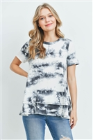 C8-A-3-PPT2064SS-GYIV - LAYERED RUFFLE HEM SHORT SLEEVED TIE DYE TOP- GREY/IVORY 1-2-2-2