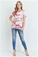 C8-A-3-PPT2064SS-WNIV - LAYERED RUFFLE HEM SHORT SLEEVED TIE DYE TOP- WINE/IVORY 1-2-2-2