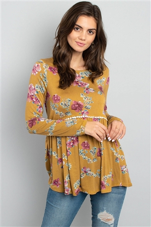 S12-3-4-PPT2066-MUMV - LONG SLEEVED FLORAL CINCH WAIST LACE DETAIL SWING TOP- MUSTARD/MAUVE 1-2-2-2