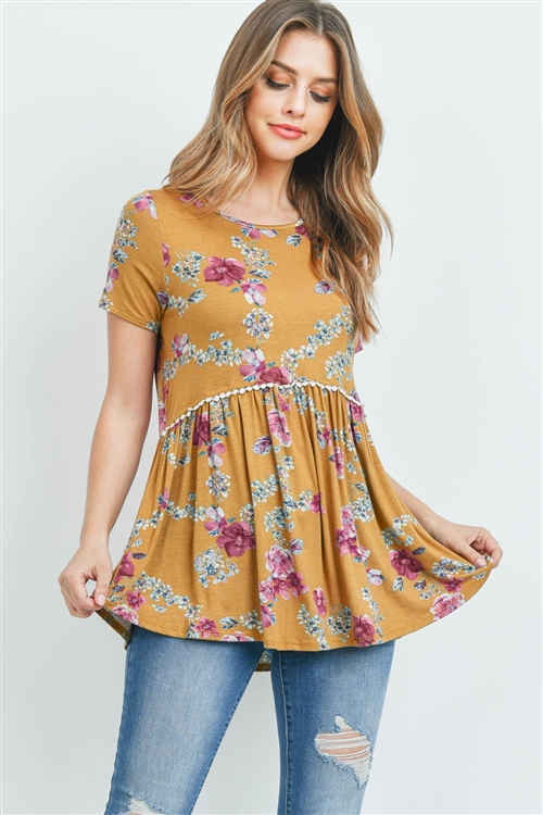 C64-A-2-PPT2066SS-MUMV - SHORT SLEEVES FLORAL CINCH WAIST LACE DETAIL SWING TOP- MUSTARD/MAUVE 1-2-2-2