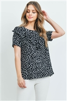 C40-A-1-PPT2068SS-BK - SHORT SLEEVES BRUSHED HACCI LEOPARD V-SHAPED RUFFLE DETAIL TOP- BLACK 1-2-2-2