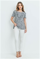 C40-A-2-PPT2068SS-HT - SHORT SLEEVES BRUSHED HACCI LEOPARD V-SHAPED RUFFLE DETAIL TOP- HEATHER 1-2-2-2