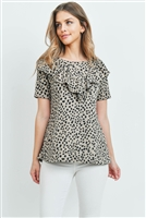 C40-A-1-PPT2068SS-KHK - SHORT SLEEVES BRUSHED HACCI LEOPARD V-SHAPED RUFFLE DETAIL TOP- KHAKI 1-2-2-2