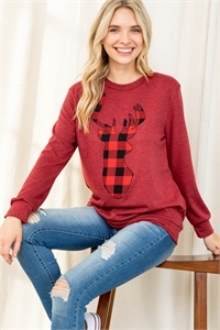 S9-12-3-PPT2070-BU2T - FRENCH TERRY LONG SLEEVE PLAID REINDEER PRINT TOP- BURGUNDY 2TONE 1-2-2-2
