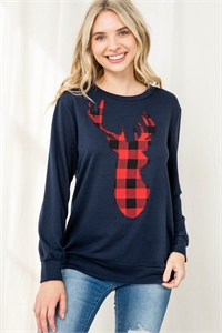 S9-12-3-PPT2070-NV2T - FRENCH TERRY LONG SLEEVE PLAID REINDEER PRINT TOP- NAVY 2TONE 1-2-2-2