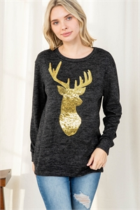 S11-11-1-PPT2071-CHL - BRUSHED HACCI SEQUINS REINDEER SHAPE TOP- CHARCOAL 1-2-2-2