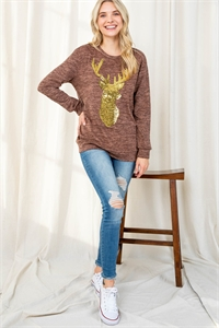 S12-6-2-PPT2071-MC - BRUSHED HACCI SEQUINS REINDEER SHAPE TOP- MOCHA 1-2-2-2