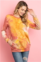 S11-18-4-PPT2073-RSTMV - FLEECED TIE DYE LONG SLEEVE ROUND NECK TOP- RUST MAUVE 1-2-2-2