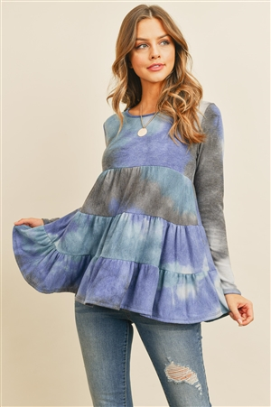 S11-19-4-PPT2074-BLTL - LAYERED RUFFLE TIE DYE LONG SLEEVE TOP- BLUE/TEAL 1-2-2-2