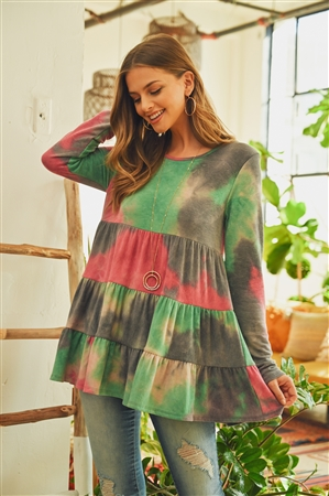 S11-19-4-PPT2074-GYFCH - LAYERED RUFFLE TIE DYE LONG SLEEVE TOP- GREY/FUCHSIA 1-2-2-2