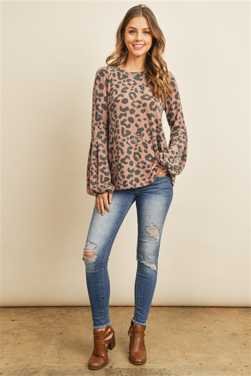 S11-4-3-PPT2083-BWN - CASSIMER  LEOPARD PUFF SLEEVE TOP- BROWN 1-2-2-2