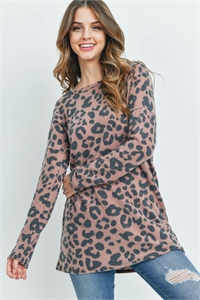 S12-3-2-PPT2084-BWN - CASSIMER  LEOPARD LONG SLEEVE TOP- BROWN 1-2-2-2