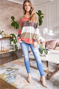 S13-12-3-PPT2089-BRKOV - RIB MULTICOLOR STRIPES V-NECK PUFF SLEEVES TOP- BRICK/OLIVE 1-2-2-2