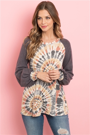 S13-12-4-PPT2090-CRBKGYCH - SOLID PUFF SLEEVES TIE DYE RAGLAN TOP- CORAL/BLACK/GREY/CHARCOAL 1-2-2-2