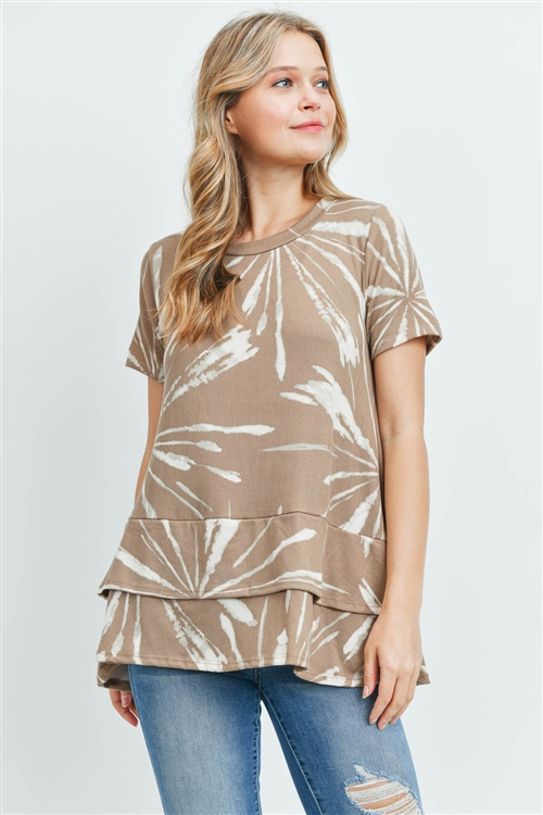 C18-A-3-PPT2091SS-TP - LONG SLEEVE TIE DYE LAYERED DETAIL HEM TOP- TAUPE 1-2-2-2