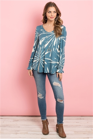 S11-18-4-PPT2092-TL - TIE DYE RUFFLE SLEEVE V-NECK ROUND HEM TOP- TEAL 1-2-2-2