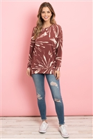 S7-1-2-PPT2093-MRSL - KANGAROO POCKET TIE DYE LONG SLEEVE TOP- MARSALA 1-2-2-2