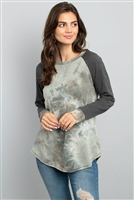 S11-20-4-PPT2095-OVIV - BOAT NECK TIE DYE LONG SLEEVE RAGLAN TOP- OLIVE/IVORY 1-2-2-2
