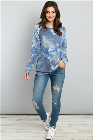 S5-2-3-PPT2096-NVGY - TIE DYE  LONG SLEEVE TOP WITH KANGAROO POCKET- NAVY/GREY 1-2-2-2