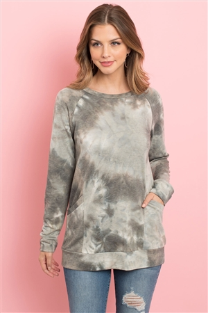 S6-1-1-PPT2096-OVIV - TIE DYE  LONG SLEEVE TOP WITH KANGAROO POCKET- OLIVE/IVORY 1-2-2-2