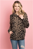 S11-13-2-PPT2101-MTP - COWL NECK LEOPARD SWEATER WITH INSEAM POCKET- MEDIUM TAUPE 1-2-2-2