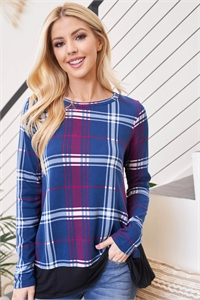 S12-5-3-PPT2103-NVBK - SOLID HEM AND SIDE CONTRAST PLAID TOP- NAVY/BLACK 1-2-2-2