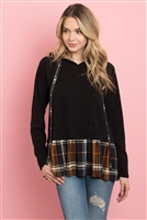 S11-14-3-PPT2104-BK - SELF TIE PLAID RUFFLE HEM TWO TONE HOODIE- BLACK 1-2-2-2