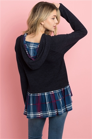 S11-14-3-PPT2104-NV - SELF TIE PLAID RUFFLE HEM TWO TONE HOODIE- NAVY 1-2-2-2