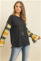 S8-1-2-PPT2108-NVMU-1 - PLAID BELL SLEEVES MIER SWEATER- NAVY/MUSTARD 1-2-2