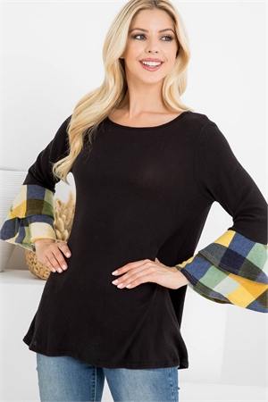 S9-14-3-PPT2111-BKMU - PLAID LAYERED BELL SLEEVE BOAT NECK SOLID TOP- BLACK/MUSTARD 1-2-2-2