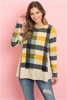 S12-5-2-PPT2112-MUOTM - PLAID LONG SLEEVES FRENCH TERRY HEM TOP- MUSTARD/OATMEAL 1-2-2-2