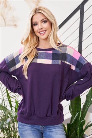 S9-7-2-PPT2113-FPLMPK - PLAID DETAIL LONG SLEEVE SOLID POCKET TOP- FALL PLUM/PINK 1-2-2-2