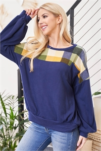 S9-7-2-PPT2113-NVMU - PLAID DETAIL LONG SLEEVE SOLID POCKET TOP- NAVY/MUSTARD 1-2-2-2